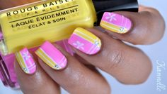 Bright pink & yellow, geometric, color blocking, white striping tape, Scotch tape technique, flowers, free hand nail art   I LOVE this design. So bright & sunny!