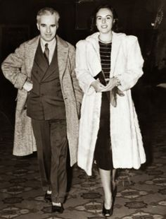 Candid shot of Charlie Chaplin and Paulette Goddard 1937