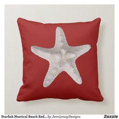 Starfish Nautical Beach Red Throw Pillow Nautical Star, Nautical Home, Red Throw Pillows, Outdoor Throw Pillows, Nautical Pillows, New England Style, Custom Pillows, Starfish, Lumbar Pillow