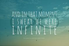 Word Art Print: Infinite - Perks of Being a Wallflower quote poster - sky birds free blue decor Get a merry 15% off too!