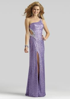 34e87af664 Clarisse 2014 Vibrant Violet Micro Sequin One Shoulder Cut Out Prom Dress  with a Slit 2320