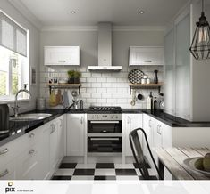 Mixtures of rustic woods and white gloss doors create this industrial trend kitchen. Classic white metro tiles combined with black laminate worktop and black and white chequerboard floor. A great design layout idea. CGI photography by http://www.setvisionspix.co.uk/