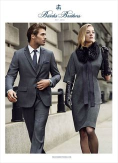Brooks Brothers enlists top model Jacey Elthalion and Claudio Monteiro for their Fall Winter 2014 advertising campaign.