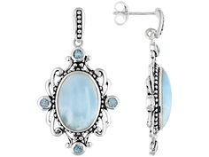 Larimar Cabochon With Blue Topaz .60ctw Sterling Silver Dangle Earrings