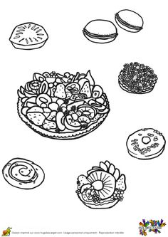 Un plateau de tartelettes avec des macarons, idéal pour le goûter et pour le coloriage
