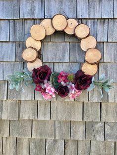 This item is unavailable Spring Front Door Wreaths, Fall Wreaths, Wood Wreath, Succulent Wreath, Vintage Farmhouse Decor, Flower Market, Wood Slices, Front Door Decor, Summer Wreath