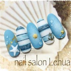 58 Hottest Beach Nail Ideas Designs for Summer - . : 58 Hottest Beach Nail Ideas Designs for Summer Sea Nails, Blue Nails, Beach Nail Designs, Nail Art Designs, Beach Nail Art, Cruise Nails, Nagellack Design, Nautical Nails, Gel Nails At Home