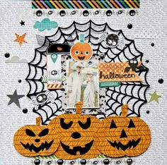 Layout by Lee-Anne Thornton using the Web Background 1 cut file and the Build A Jack cut file. Scrapbook Layout Sketches, Scrapbooking Layouts, Scrapbook Paper Crafts, Scrapbook Pages, Fall Halloween, Happy Halloween, Halloween Scrapbook, Paper Hearts, One Pic
