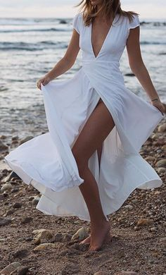 Beautiful flowy maxi wrap dress in white