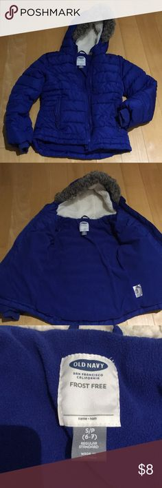 Old navy girls puffer jacket Old navy blue puffer jacket...my daughter loves it but she outgrew it. It has soft fleece inside and a hood with two side zip pockets Old Navy Jackets & Coats Puffers