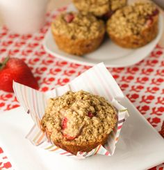 Strawberry Oatmeal Muffins. I just made two batches of theses. One with strawberries and one with chocolate chips. Both are delicious! It tastes like the perfect topping of an apple crisp and came together really quickly. A keeper for sure!