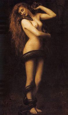 Lilith | John Collier 1887 In folklore Lilith was the first wife of Adam made of Earth as Adam. When she refused to be submissive she was banished from The Garden of Eden and Adam was given Eve. Eve was made from his rib to ensure her obedience to Adam.