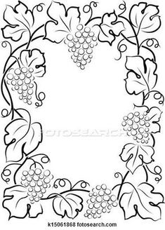 Illustration of black calligraphy frame wine label vine grapes Cross Stitch Embroidery, Embroidery Patterns, Hand Embroidery, Fabric Painting, Painting Frames, Colouring Pages, Coloring Books, Vine Border, Wood Burning Patterns