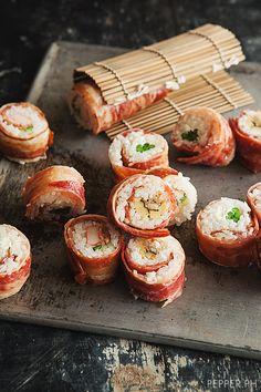 Recipe: Surprising Bacon-Wrapped Sushi|ベーコン巻き寿司 #LactoseFree