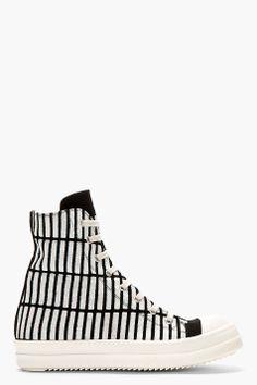 RICK OWENS DRKSHDW Black & White Stripe Weave RAMONES sneakers