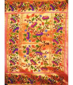 Colorful flower work Handloom Paithani Saree Traditional Sarees, Traditional Wedding, Best Blouse Designs, Wedding Sari, Kanjivaram Sarees, Soft Silk Sarees, Indian Textiles, Indian Designer Outfits, Buy Sarees Online