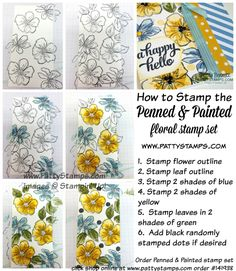 Fresh Yellow and Blue Penned & Painted flower cards | Patty's Stamping Spot | Bloglovin'