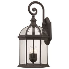 3-light outdoor wall lantern.    Product: Outdoor wall lanternConstruction Material: Glass and metalColor...