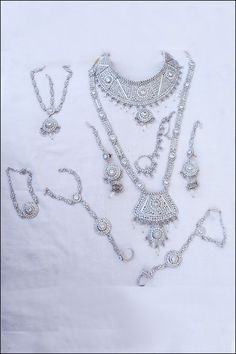 Designer Wedding Necklace; Silver Wedding and Bridal Motti and Stone Necklace Set