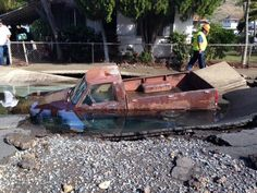Hawaii SinkHole... http://www.undergroundinspections.com/sinkhole-swallows-pickup-truck-in-palolo-valley/