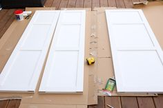 IKEA Wardrobe Hack: Follow these 6 simple steps for creating custom, built-in storage using an IKEA Dombas Wardrobe, MDF trim, glue, staples and paint!