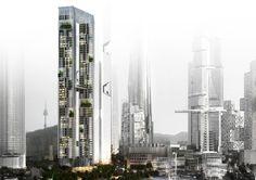murphy/jahn: pentomonium towers   yongsan international business district Residential Architecture, Architecture Design, Seoul, Vertical City, Future Buildings, Sky Garden, Green Building, Sustainable Design, Sustainability
