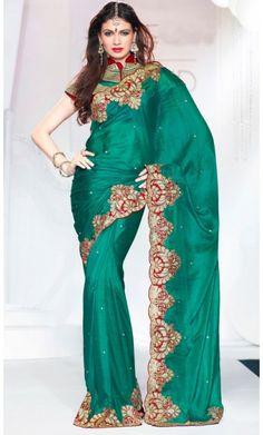 Contemporary Greenish Blue Embroidered Saree #saree-online #saree-fashion