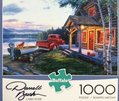 Darrell Bush Jigsaw Puzzle Cabin Fever 1000 Pieces includes Bonus Poster #BuffaloGames