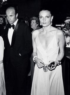 Diane von Furstenberg in a deep v plunge dress.