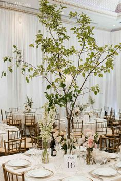 Greenery Centrepieces, Greenery Branch Centrepieces, Tree Wedding Centrepieces   ElegantWedding.ca Tree Centrepiece Wedding, Tree Branch Centerpieces, Green Centerpieces, Wedding Decorations, Wedding Flower Guide, Wedding Reception Flowers, Wedding Trees, Branches Wedding, Greenery Decor