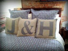 Hannah was kind enough to snap a photo of her adorable new bed that includes Happy Habitat Letter Pillows and the new Ampersand Pillow. Love that it's paired with the Jonathan Adler Bedding. Thanks for sharing Hannah!