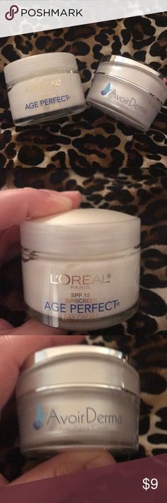 L'Oréal Day Cream Age Perfect L'Oréal Age Perfect Day Cream with spf 15. 2.5 oz. only used three times. Also i will add a jar of Avoir Derma Anti Aging cream complimentary. which I used five times. I used it under my eyes. 2.0 oz. Makeup
