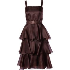 Preowned Bill Blass Vintage Chocolate Brown Tiered Silk Party Dress ($650) ❤ liked on Polyvore featuring dresses, brown, brown dress, vintage silk dress, red dress, red silk dress and brown vintage dress