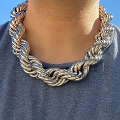Rhodium Plated Sterling Silver Hollow Franco Hip Hop Chain Necklace