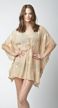 Lisa Curran Swim - Giselle Paisley Embroidered Caftan in Sand