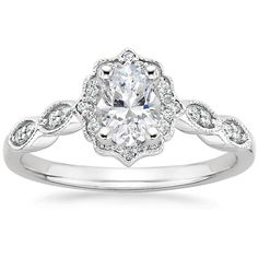 18K White Gold Cadenza Halo Diamond Ring from Brilliant Earth