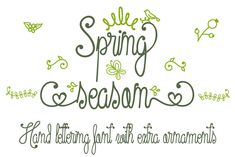 The Spring Season is an amazing monoline font. It has a beautiful hand lettered style with a condensed, elegant, and. Dingbat Fonts, Handwritten Fonts, All Fonts, Types Of Lettering, Hand Lettering, Commercial Use Fonts, Cricut Fonts, Character Map, Uppercase And Lowercase