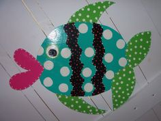 Whimsical Fish Door Hanger or Nursery Wall by ThePaisleyPersimmon, $50.00
