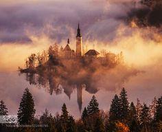 Church on the Island in Mist Sunrise by gljivec. Please Like http://fb.me/go4photos and Follow @go4fotos Thank You. :-)