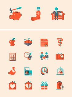 I like the color scheme and illustration style of these icons by Patswerk.