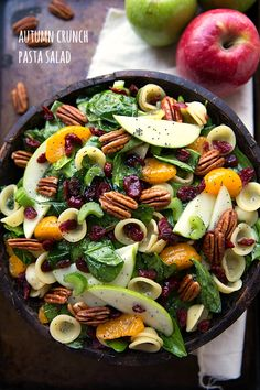 Pasta and spinach are paired with apples, pecans, and sweet mandarin oranges in this recipe that's the perfect opener to your fall harvest celebration. Get the recipe at Chelsea's Messy Apron.