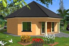 Lay out plan Round House Plans, 3d House Plans, House Plans With Photos, Simple House Plans, 1 Bedroom House Plans, Single Storey House Plans, Beautiful House Plans, Architectural House Plans, Thatched House