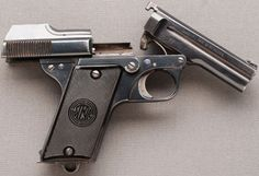 Nicolas Pieper's M1908/34 semi-automatic pistol Manufactured by Steyr in Austria for the Austrian police, who used the M1908 from 1934 to 1954.It's chambered in 7.65x17 Browning aka .32ACP and uses 7-rounds magazine.