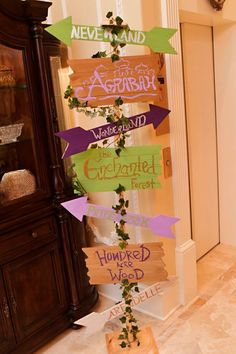 Disney DIY signage that our bride created for her Disney inspired wedding to let guests know where t The Wedding Planner, Wedding Planning Tips, Event Planning, Wedding Planners, Disney Diy, Deco Disney, Disney Stuff, Diy Wedding, Dream Wedding