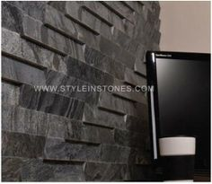 Slat Tile Natural Stone by Island Stone: The Slat Tile is a cladding with the angle cut across the width rather than the length, as in the Vtile. By simply turning and flipping the Slat Tile, you can easily create that unique wall design. Stone Cladding, Wall Cladding, Cladding Ideas, Cladding Design, Natural Stone Backsplash, Stone Tiles, Floor Patterns, Tile Patterns, Design Palette
