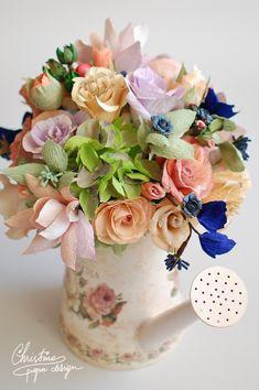 Christine Paper Design - vintage paper flowers centerpiece.