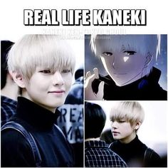 BTS V don't know who kaneki is but V does look like him and he look hot. I had a hard time deciding where this went