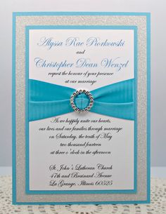 Stunning Turquoise & Silver Glitter Sweet Sixteen, Quinceanera, or Wedding Invitation Full of Bling, Sparkle, and Dazzle