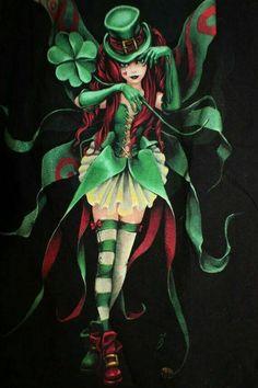 Leprechaun Fairy Faerie Angel Black T-Shirt by MercedessTreasures St Patrick, Leprechaun Tattoos, Gothic Fantasy Art, Irish Fairy, Fairy Artwork, Fairy Wallpaper, Irish Celtic, Magical Creatures, Gothic Fairy