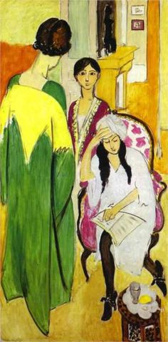The Three Sisters with a Sculpture, left panel from The Three Sisters Triptych, 1917, oil on canvas, 195.5 x 96.8 cm. The Barnes Foundation, Merion, Pennsylvania, USA.  Fauvism, Henri Matisse (1869 - 1954).